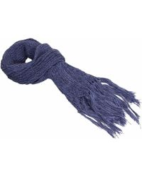 40 Colori - Navy Double-threaded Hand Fringed Wool Scarf - Lyst