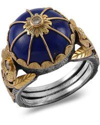 Emma Chapman Jewels Leh Lapis Lazuli Diamond Ring - Blue