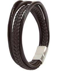 N'damus London Mens Brown 5 Strap Leather Braided Bracelet With Silver Clasp