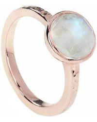 Neola Estella Rose Gold Ring Rainbow Moonstone - Metallic