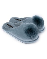 Pretty You London Coco Mule Slipper In Duck Egg - Blue