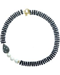 Farra Natural Branch Shaped Black Coral With Freshwater Pearls & Rhinestone Necklace