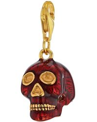 True Rocks - Red Enamel & 18 Carat Gold Plated Small Skull Charm - Lyst