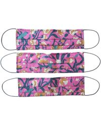 Rumour London Reusable Protective Cloth Masks With Integrated Filter In Liberty Floral Print - Purple