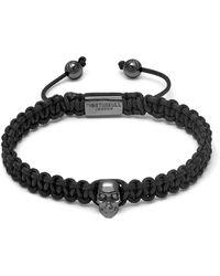 Northskull Atticus Skull Macramé Bracelet In Black & Gunmetal
