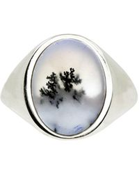 No 13 - Snow Agate Vertical Signet Ring Silver - Lyst