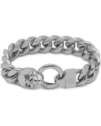 Northskull Atticus Skull Curb Chain Bracelet In Silver - Metallic