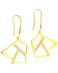 Ona Chan Jewelry - Drop Earring With Sapphire Gold - Lyst