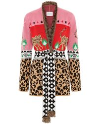 Hayley Menzies - Leopardess Short Cardigan Pink & Red - Lyst
