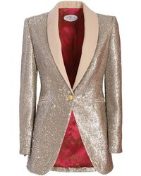 The Extreme Collection Sequenced Beige & Gold Classic Blazer Clarisa - Metallic