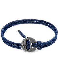 Anchor & Crew Navy Blue Lerwick Silver & Rope Bracelet