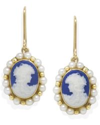 Vintouch Italy Little Lovelies Gold-plated Blue Cameo Pearly Earrings