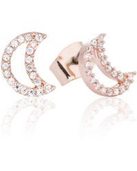 Astrid & Miyu - Tricks Moon Stud Earrings Rose Gold - Lyst