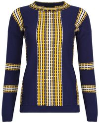 NY CHARISMA - Navy Sweater With Textured Railroad Pattern - Lyst