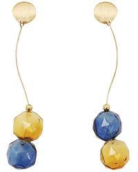 Paisie Flowy Two Sphere Earrings - Multicolour