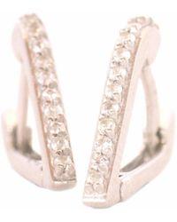 XISSJEWELLERY - Silver & White Sapphire Huggy Earrings - Lyst