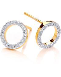 Dione London - Nyx Diamond Circle Stud Earrings - Lyst