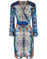 Jennifer Rothwell Two Face Wrap Dress - Blue