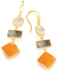 Dione London - Artemis Moonstone Labradorite & Carnelian Three Stone Diamond Drop Earrings - Lyst