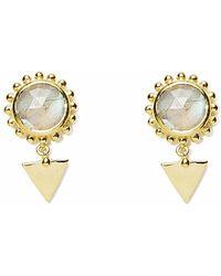 Agnes De Verneuil - Gold Earrings Sun & Stone Labradorite - Lyst
