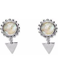 Agnes De Verneuil - Silver Earrings Sun & Stone Labradorite - Lyst