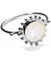 Agnes De Verneuil - Silver Ring Sun & Stone Rainbow Moonstone - Lyst
