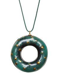 Tadam! Design - Green Chameleon Doughnut Pendant Necklace - Lyst