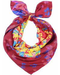 UnPaired - The Rain Red Silk Square Scarf - Lyst