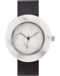 Analog Watch Co. White Marble Circle With Black Leather Strap - Multicolor