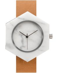 Analog Watch Co. - White Marble Hexagon With Tan Leather Strap - Lyst