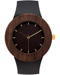 Analog Watch Co. Leather & Blackwood With Hour Markings - Multicolor