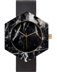 Analog Watch Co. - Black Marble Hexagon With Black Leather Strap - Lyst