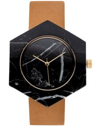 Analog Watch Co. Black Marble Hexagon With Tan Leather Strap
