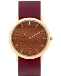 Analog Watch Co. Makore Wood Classic Watch With Cherry Leather Strap - Multicolor