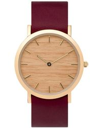 Analog Watch Co. Silverheart Wood Classic Watch With Cherry Leather Strap - Multicolor