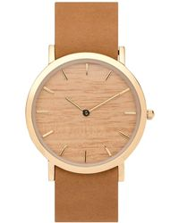 Analog Watch Co. Silverheart Wood Classic Watch With Tan Leather Strap - Multicolor