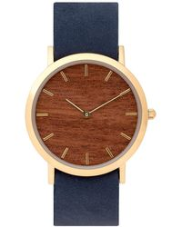 Analog Watch Co. Makore Wood Classic Watch With Navy Leather Strap - Multicolor