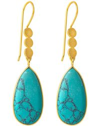 Juvi Designs - Boho Three Little Disk Gold Earrings With Turquoise - Lyst