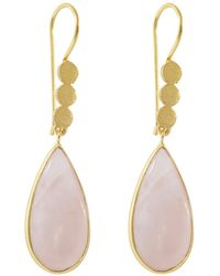 Juvi Designs - Gold Cocoa Pod Tulum Earrings Rose Quartz - Lyst