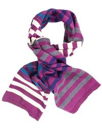 40 Colori - Cream Black Burgundy Multi Striped Wool Scarf - Lyst