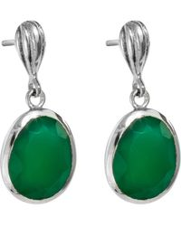 Juvi Designs - Silver Cocoa Pod Baja Earring Green Onyx - Lyst