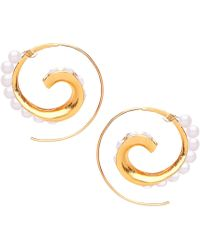 Ottoman Hands - Pearl Spiral Bead Hoop Earrings - Lyst