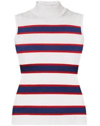 Rumour London - Erin Blue & Red Striped Sleeveless Top - Lyst