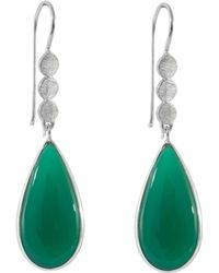 Juvi Designs - Boho Three Little Disk Silver Earrings With Green Onyx - Lyst