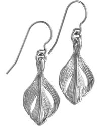 Chupi - Tiny Swan Feather Earrings Silver - Lyst