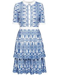 Rumour London Florence Embroidered Two-tier Pleated Dress - Blue