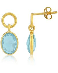 Auree - Cannes Gold Vermeil Circle And Blue Topaz Drop Earrings - Lyst