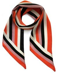 INGMARSON Henley Silk Stripe Neck Scarf Orange