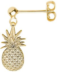 CarterGore Gold Pineapple Single Short Drop Earring - Metallic