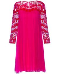 Nissa Silk Dress With Lace Sleeves - Red